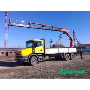 Аренда манипулятора 8 тонн стрела 15 т кузов Scania r114 в Коломне
